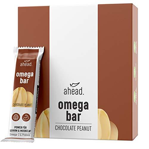 ahead OMEGA BAR 12er Box Energieriegel mit DHA Omega-3 für die Gehirnleistung¹ – Proteinriegel mit Hafer und Whey-Protein für Alltagshelden und Athleten – Chocolate Peanut, 12er Pack (12x50g)