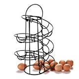 Yontree Spiraling Design Egg Skelter Dispenser Rack Egg Storage Holder Freestanding Black