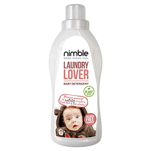 Nimble, Laundry Lover, 1x 715ml Baby Laundry Detergent, Natural Plant-Based Ingredients, Eco-Friendly, Non Bio Washing Liquid for Baby, Hand & Machine Wash, 30 Washes