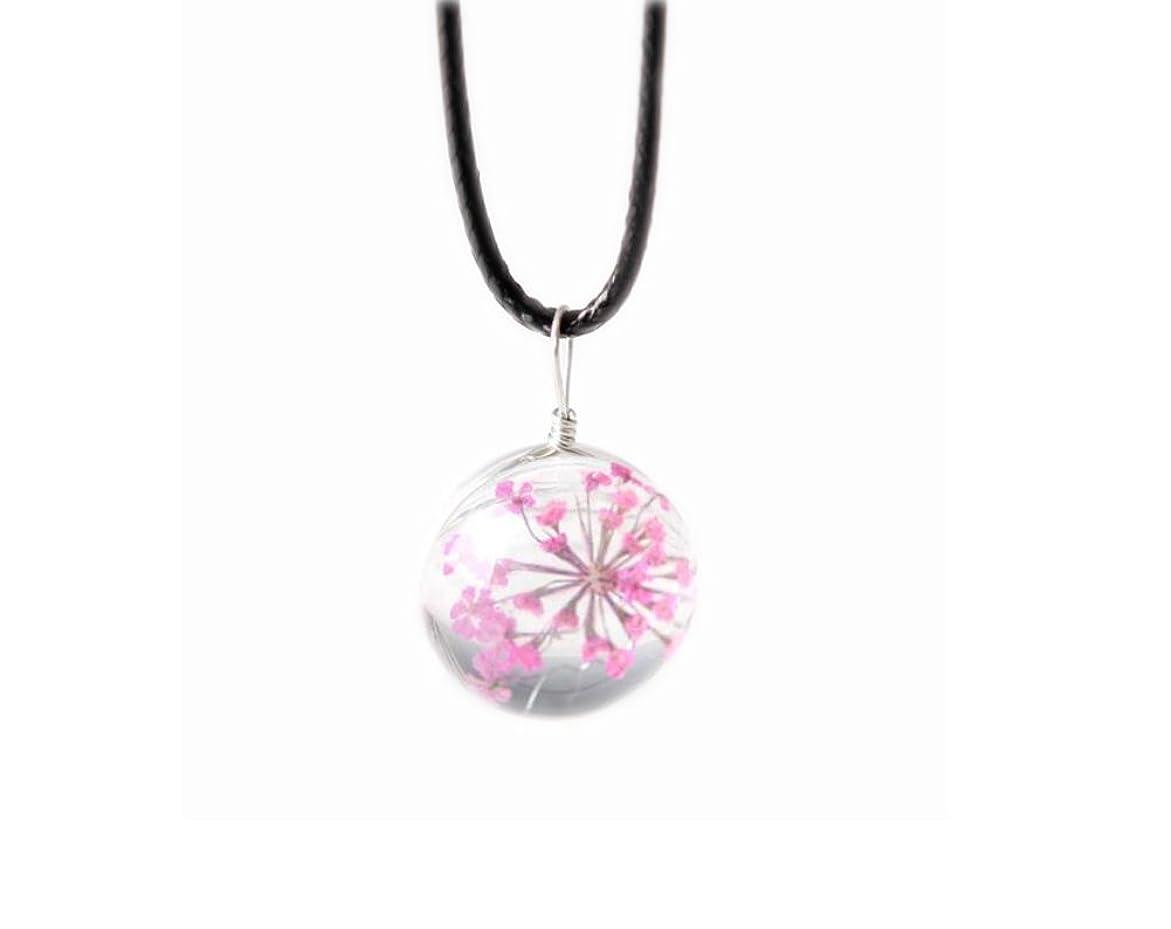 4本のペンダントネックレスギフトのセットGypsophila乾いた花のネックレス - ピンク