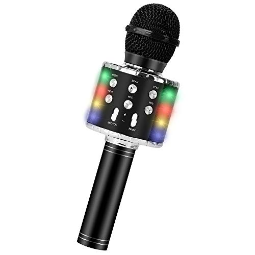 Wireless Bluetooth Karaoke Microphone, 5-in-1 Portable Handheld Mic Speaker Player Recorder with Controllable LED Lights, Adjustable Remix FM Radio for Christmas, Birthday, Home Party More (Black)