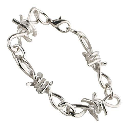 [silver KYASYA]チェーンブレスレット 有刺鉄線 針金 ブレスレット オニハリバーブ silver シルバー 銀色 太幅 存在感 パンクデザイン アクセサリー ハード ロック トゲトゲ 棘
