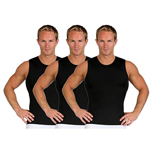 Insta Slim ISPRO Slimming Crew-Neck Sleeveless Top Shapewear Compression Shirt for Men - (Pack of 3) Black