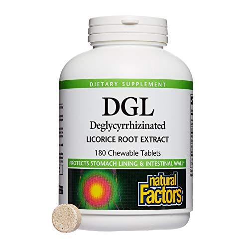 Natural Factors - DGL Licorice Root 400mg, Supports the Integrity of the Stomach Lining, 180 Chewable Tablets