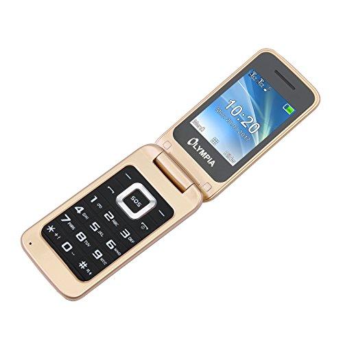 OLYMPIA Luna - Seniorenhandy – Gold ✓ Große Tasten ✓ Notruf-Taste ✓ Klappbares Großtasten-Handy | Mobiltelefon für Senioren/Rentner ohne Vertrag | Altersgerechtes Klapphandy mit Tasten