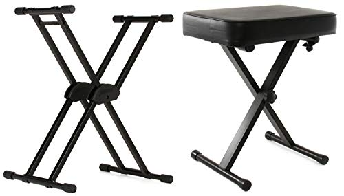 Roland KS-20X Heavy-duty Double-Braced X-Style Stand + On-Stage Stands KT7800 Three-Position X-Style Bench Value Bundle