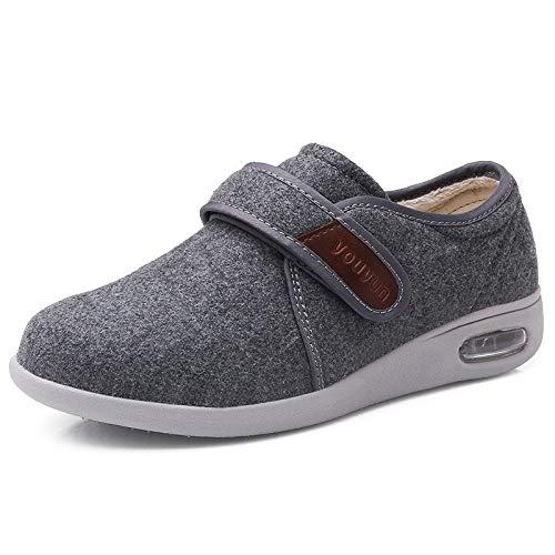 XRDSHY Zapatos para Diabéticos Zapatos para Hombre Arthritis Edema Zapatos Cómodos Antideslizantes Extra Anchos,Grey-EU47/ 285mm