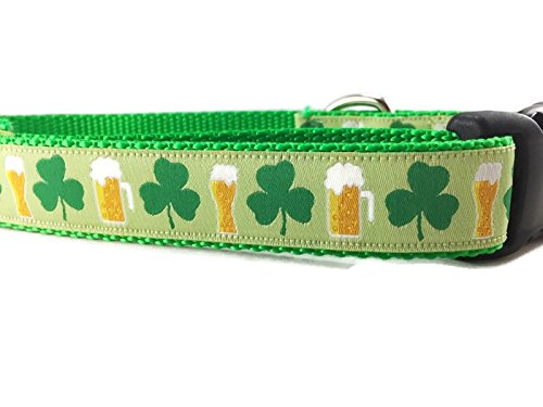St Patricks Dog Collar, Caninedesign, Shamrock, Beer, Leprechaun, 1 inch Wide, Adjustable, Nylon, Medium and Large (Shamrocks and Beer, Medium 13-19')