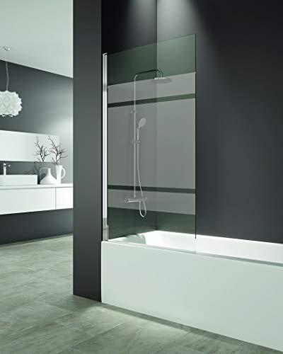 Mampara de bañera - Hoja abatible 6 mm con tratamiento anti cal - Medida 150x85 cm - Perfiles aluminio y elevación al girar (FROST PLUS)