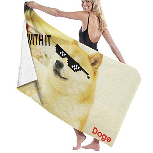 Cool Doge con Toalla de baño para Gafas de Sol Playa SPA Ducha Baño Envoltura Luz Suave Cómodo 80X130 Cm