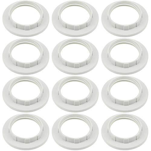 12 Stück Schraubring E14 Weiß Lampenhalter Schloss Gewindering Ersatz Ring für Lampen-Fassung Ring für Lampen-Schirm Glas-Elemente