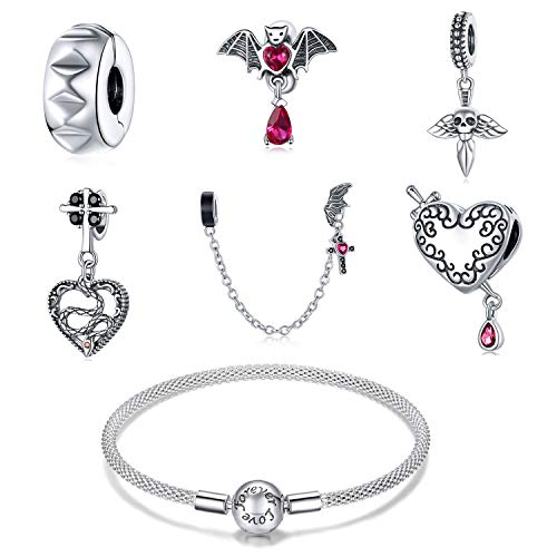ZiFouDou Mesh Bracelet for Pandora Bead Charms with 925 Sterling Silver Bead Charm- Dark Love