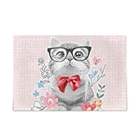 Akiraki ジグソーパズル ねこ 猫柄 花柄 おもしろ 動物柄 ピンク 500ピース パズル 木製 ピクチュアパズル 大人用 減圧 子供用 知育 おもちゃ puzzle 38x52cm