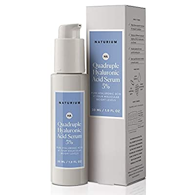 Quadruple Hyaluronic Acid Serum 5% - 1 oz, Deep Hydration, Extra Moisturizing, Anti-Wrinkle Concentrated Facial Serum with Pure Hyaluronic Acid At Four Molecular Weight Levels by Naturium