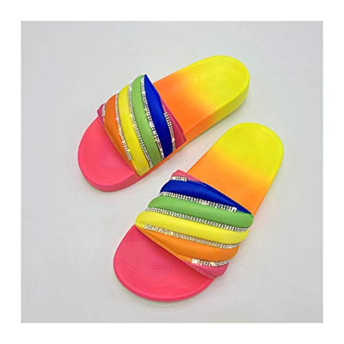 Without Women Beach Rubber Slippers Shoes Woman flip Flops Female Rhinestone sildes Candy Sandals Outdoor Flats Wholesale Drop (Color : Multi styel 2, Shoe Size : 9)