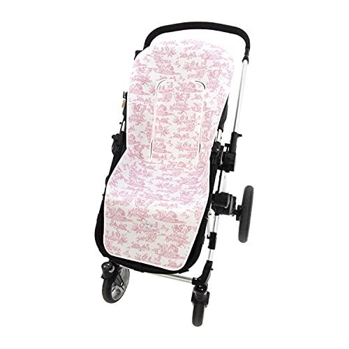 Funda de Verano para Silla Paseo Universal Rosy Fuentes- Colchoneta para Carrito Bebé- Transpirable-Compatible con Bugaboo, Jane, Concord, Baby Jogger, Bebecar…0-rosa