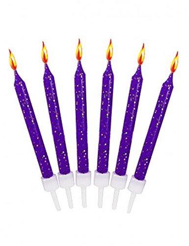 Bougies anniversaire violettes pailletées (x12)