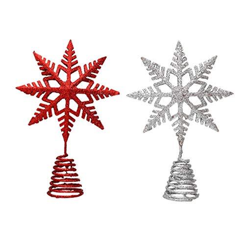 jojofuny 2Pcs Glitter Red Silver Star Christmas Tree Topper Multi-Pointed Bethlehem Star Treetop Iron Glittering Tree Top for Xmas Tree Decorations Holiday Seasonal Home Decor