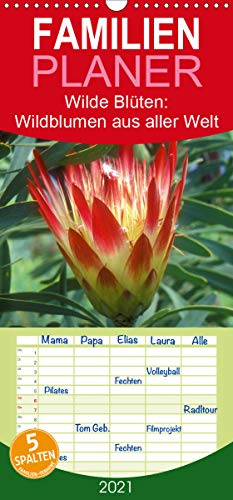 Wilde Blüten: Wildblumen aus aller Welt - Familienplaner hoch (Wandkalender 2021, 21 cm x 45 cm, hoch)