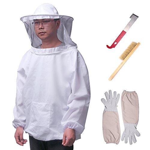 Conjunto de herramientas de apicultor Conjunto de apicultura Conjunto de apicultura Traje transpirable Chaqueta Guantes de manga larga Cepillo de colmena de abejas Conjunto de 4 piezas