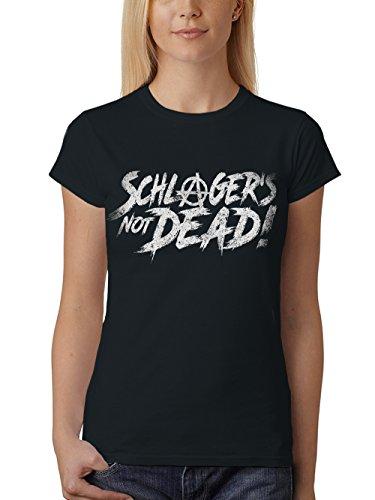 clothinx Damen T-Shirt Unisex Schlager is Not Dead Schwarz Gr. L