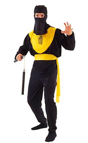 Paolo-bloemen Dragon Ninja kostuum voor volwassenen, zwart, maat 52-54, 62126