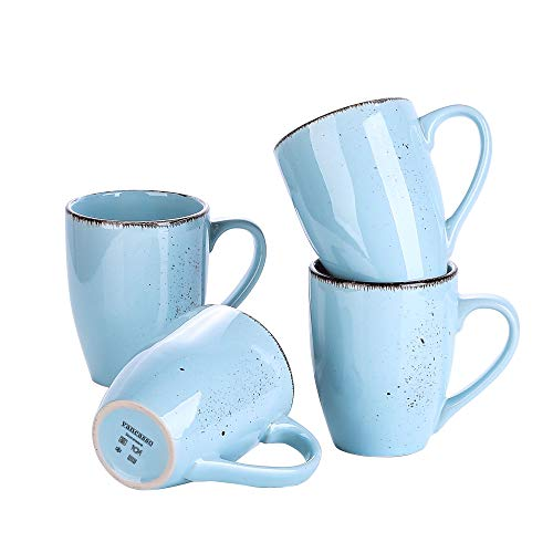 vancasso Serie Navia Oceano Tazas de 4 Piezas, Juego de Tazas de Desayuno, Café, Leche, Gres Azul Claro Retro