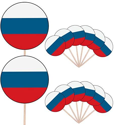 Russische Federatie Vlag Partij Voedsel Cake Cupcakes Picks Sticks Vlaggen Opstaan Decoraties Toppers (Pack van 14)