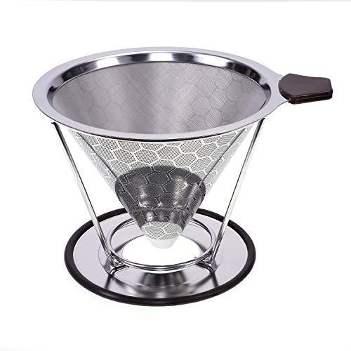 Baomasir Herbruikbare koffiefilter van roestvrij conisch staal – Uniek filter voor koffie zonder papierresten Bijenhoning