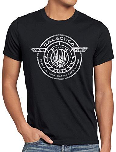 style3 Colonial Battlestar Group Herren T-Shirt Galactica Space, Größe:XXL, Farbe:Schwarz