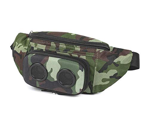 Fannypack with Speakers. Bluetooth Fanny Pack for Parties/Festivals/Raves/Beach/Boats. Rechargeable, Works with iPhone & Android. (Camo, 2021 Edition)