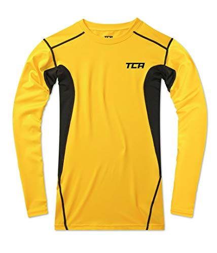 TCA Men's Hyperfusion Compression Base Layer Top Long Sleeve Under Shirt - Sonic Yellow/Black, L Men