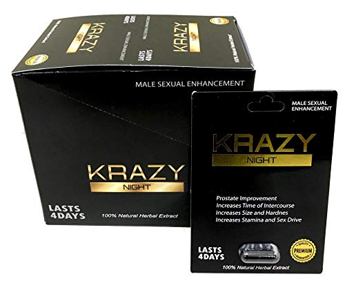 Krazy Night Black 24Pills in The Box Best Male Enhancing Natural Performance Capsules Most Effective Natural Amplifier for Performance, Energy, and Endurance (Black 24 Pills)