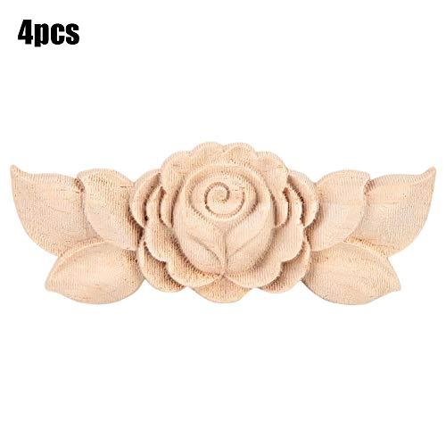 Apliques de madera de estilo vintage tallado de la esquina de la flor para el gabinete de la puerta del hogar sin pintar muebles decoración 4pcs (1#)