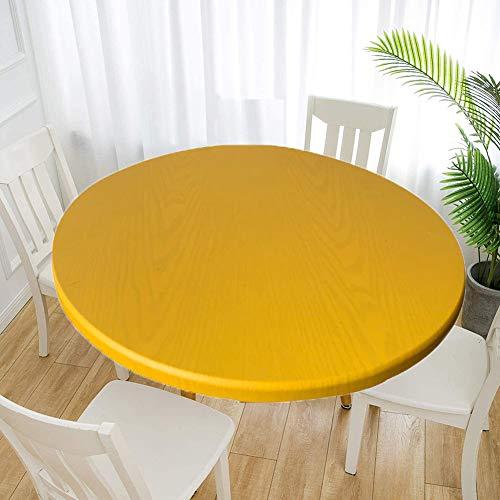 Cozomiz Elastische Tischdecke Gartentischdecke Rundtischdecke wasserdichte rutschfeste Abwischbar Schmutzabweisend Tischdecke Gelb 100cm Runde Enge Passform