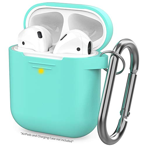 AhaStyle Upgrade AirPods Case Silicone Protective Cover Skin [Front LED Visible] Compatible with AirPods 2 and 1(Mint Green)