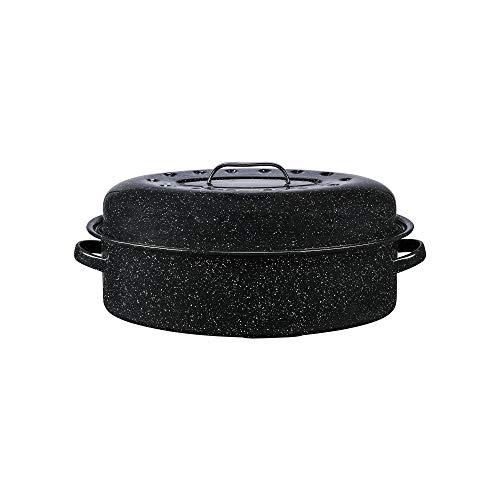 Granite Ware Enamel on Steel 18 in. Covered Oval Roaster, 15 lb. Capacity