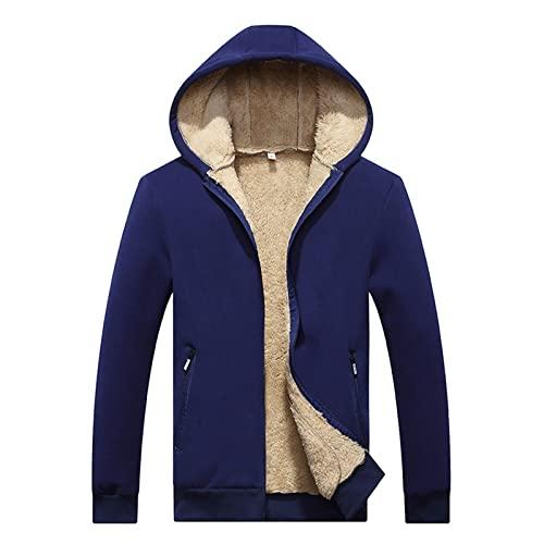 Chaqueta de forro polar con capucha para hombre, con cremallera, cálida, de felpa de manga larga, con capucha, de invierno, con capucha, gruesa, de un solo color