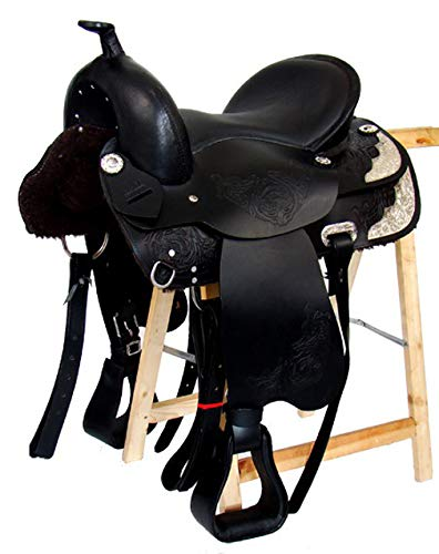 A&M Reitsport Algodón sin Western Kansas para sillín de Piel de búfalo Negro