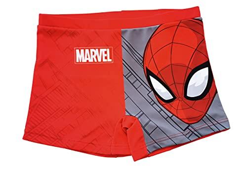 Spiderman Bañador para Niños, Slip Cortos de Natación Infantil, Bañador Transpirable Secado Rápido, Color Rojo, Talla 4 Años