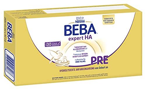 Nestlé BEBA EXPERT HA PRE Hydrolysierte Anfangsnahrung von Geburt an, Pre Milch trinkfertig für Babys mit erhöhtem Allergie-Risiko, 32er Pack (32 x 90ml)