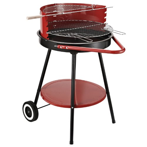 Outsunny Holzkohlegrill Rundgrill Standgrill auf Rollen mit Ablage Rost BBQ Metall Rot L70 x B51 x H75,5cm