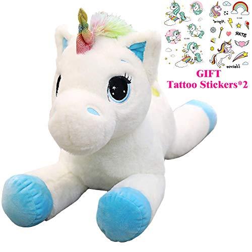 Georgie Porgy Bambini Unicorno di Peluche Teddy con Coda Arcobaleno Multicolore Pony di Animali Farciti Regali Morbidi per Ragazze dai 3 Anni in su (Blu 15'')