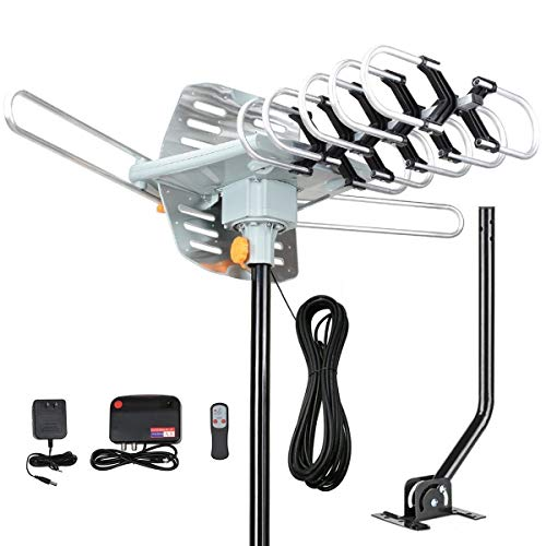 Outdoor TV Antenna, Digital Amplified Outdoor HDTV Antenna 150 Miles Range, Support UHF/VHF/4K/1080p High Reception -360°Strong Motor Rotation Wireless Remote with 33 FT Coax Cable, Mounting Pole