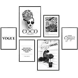Heimlich® Premium Poster Set   Stilvolles Set mit passenden Bilder als Wohnzimmer Deko   2 x DIN A3 & 4 x DIN A4 - ca. 30x42 & 21x30   ohne Bilderrahmen » Coco Schwarz Weiß «
