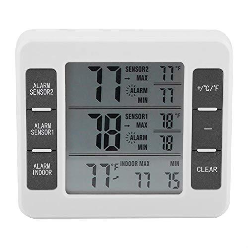 Allarme acustico Termometro da frigorifero, Termometro da congelatore digitale wireless, Monitor di temperatura del sensore Sreen a LED con sensore a 2 sacchi per congelatore Kiten