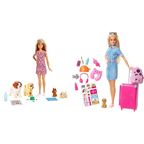 Barbie y su guardería de Perritos, muñeca con Mascotas y Accesorios (FXH08) + Vamos de Viaje, Muñeca con Accesorios, Edad Recomendada: 3 Años y Mas (Fwv25)