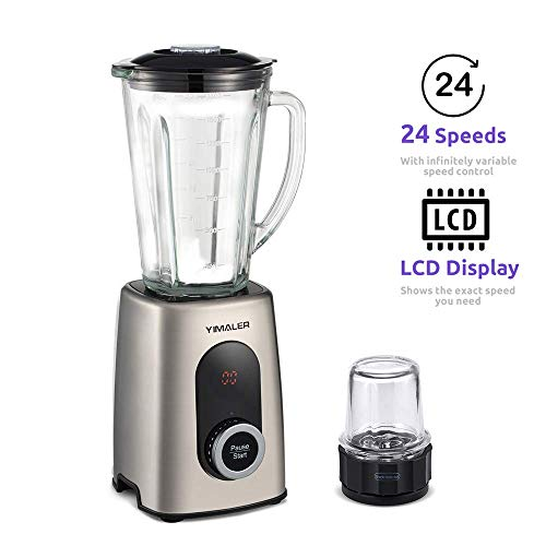 Yimaler Blender Smoothie Maker with Glas Jug and Grinder 24 Speeds LCD 6 Stainless Steel Blade 1.8 L 1000W Blender Food Processor for Smoothie Soup Coffeebean (Renewed)