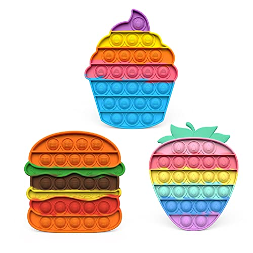 Push Pop Bubble Sensory Fidget Toy, Autism Special Needs Stress Relief Silicone Pressure Relieving Toys Icecream Strawberry Hamburger Sensory Toys for Kids Adults