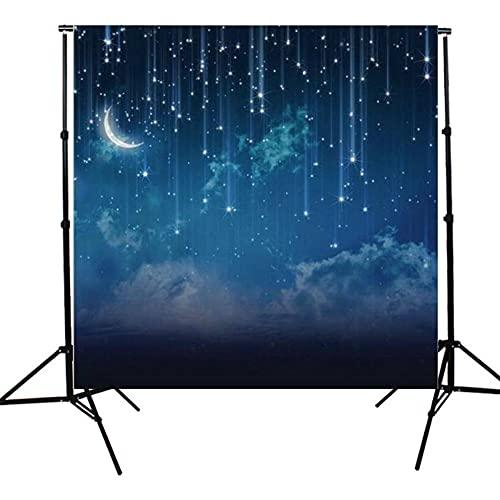 Telón De Fondo De Fotografía 10x10ft Sky Star Star River Moon Night Studio Fondo De Vinilo Tollón De Fondo para Grabación De Video En Vivo En Estudio